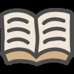 開いた本のかわいい手書き風イラストアイコン