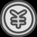 円コイン・¥マークのかわいい手書き風イラストアイコン<銀色・シルバー>