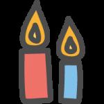 蝋燭(ロウソク)のかわいい手書き風イラストアイコン