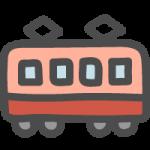 横から見た赤色の電車(鉄道)のかわいい手書き風イラストアイコン