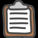 クリップボード(バインダー)のかわいい手書き風イラストアイコン