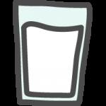 グラスに入った牛乳(ミルク)のかわいい手書き風イラストアイコン