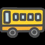黄色いスクールバスのかわいい手書き風イラストアイコン