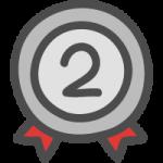 銀メダル(順位マーク・ランキング2位)のかわいい手書き風イラストアイコン