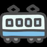 横から見た青色の電車(鉄道)のかわいい手書き風イラストアイコン