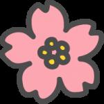 桜(さくら)の花のかわいい手書き風イラストアイコン