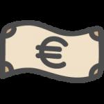 お札・紙幣(€・ユーロ)のかわいい手書き風イラストアイコン