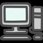 デスクトップパソコン(PC)のかわいい手書き風イラストアイコン
