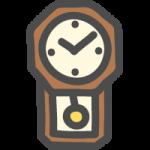 壁掛け時計(振り子時計)のかわいい手書き風イラストアイコン