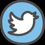 twitter(ツイッター)ロゴのかわいい手書き風イラストアイコン(ツイッターバード:円形)