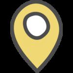 マップ(地図)の場所・位置を示すピンマーカーのかわいい手書き風イラストアイコン<黄色>