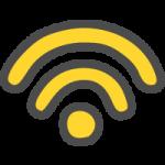 Wi-Fi(ワイファイマーク)のかわいい手書き風イラストアイコン<黄色>