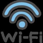 Wi-Fiの文字入りワイファイマークのかわいい手書き風イラストアイコン<青・水色>