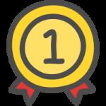 金メダル(順位マーク・ランキング1位)のかわいい手書き風イラストアイコン