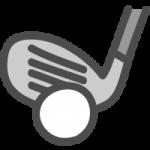 ゴルフボールとクラブ(アイアン)のかわいい手書き風イラストアイコン