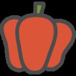 赤ピーマン(パプリカ)のかわいい手書き風イラストアイコン