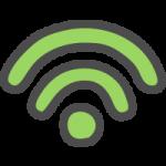 Wi-Fi(ワイファイマーク)のかわいい手書き風イラストアイコン<緑色>