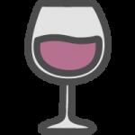 赤ワインが入ったグラスのかわいい手書き風イラストアイコン
