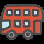 赤い二階建てバスのかわいい手書き風イラストアイコン