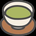 湯のみに入った緑茶のかわいい手書き風イラストアイコン
