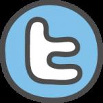 twitter(ツイッター)ロゴのかわいい手書き風イラストアイコン<アルファベット:丸型>