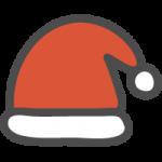 [クリスマス]サンタクロースの帽子のかわいい手書き風イラストアイコン