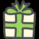 プレゼント・ギフトBOX(緑色リボン)のかわいい手書き風イラストアイコン