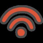 Wi-Fi(ワイファイマーク)のかわいい手書き風イラストアイコン<赤色>