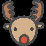 [クリスマス]トナカイのかわいい手書き風イラストアイコン