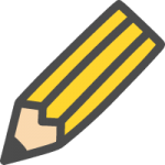 鉛筆マーク(えんぴつ)のかわいい手書き風イラストアイコン