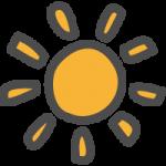 太陽・おひさま(晴れマーク)のかわいい手書き風イラストアイコン