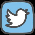 twitter(ツイッター)ロゴのかわいい手書き風イラストアイコン(ツイッターバード:四角)