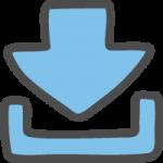 ダウンロード矢印(青・水色)のかわいい手書き風イラストアイコン