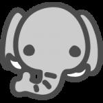 象(ゾウ)のかわいい手書き風イラストアイコン