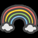虹(レインボー)のかわいい手書き風イラストアイコン
