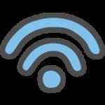 Wi-Fi(ワイファイマーク)のかわいい手書き風イラストアイコン<青・水色>