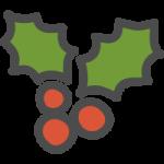 [クリスマス]柊(ヒイラギ)のかわいい手書き風イラストアイコン