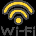 Wi-Fiの文字入りワイファイマークのかわいい手書き風イラストアイコン<黄色>