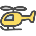 ヘリコプターのかわいい手書き風イラストアイコン