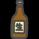 ビール瓶のかわいい手書き風イラストアイコン