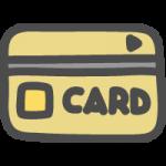 クレジットカード・キャッシュカードのかわいい手書き風イラストアイコン<金色・ゴールド>