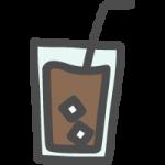 グラスに入ったアイスコーヒーのかわいい手書き風イラストアイコン