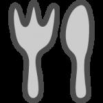フォークとナイフのかわいい手書き風イラストアイコン