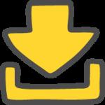 ダウンロード矢印(黄色)のかわいい手書き風イラストアイコン