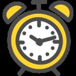 目覚まし時計のかわいい手書き風イラストアイコン