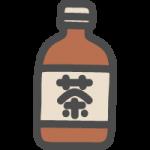 ペットボトルに入ったお茶(烏龍茶)のかわいい手書き風イラストアイコン