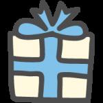 プレゼント・ギフトBOX(青リボン)のかわいい手書き風イラストアイコン