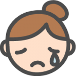 [女性の顔]涙・悲しい・泣いている表情のかわいい手書き風イラストアイコン