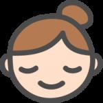 [女性の顔]安心・安らぎの表情のかわいい手書き風イラストアイコン