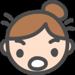 [女性の顔]ビックリ・驚き・焦りの表情のかわいい手書き風イラストアイコン